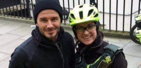 David Beckham surprises a paramedic and patient on the streets of London.