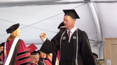Michael Vaudreuil is graduating from Worcester Polytechnic Institute where he has worked as a janitor for ten years.